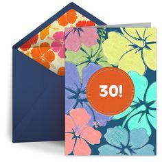 Fun, summery digital 30th birthday party card.