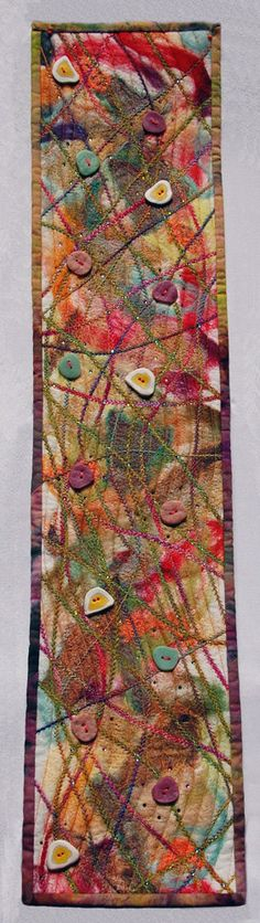 """Icy Sorbet."" It was a hot day and the fiber  artist was inspired by her thoughts of something really cool. art quilt"