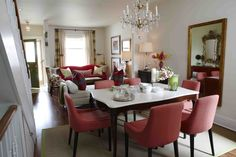 """From HGTV's """"Sarah 101"""":  Sarah brightens a long, narrow living and dining room with lots of color."""
