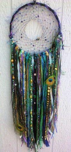 LED Peacock Dreamcatcher handmade 8 inch dream by DreamRaes