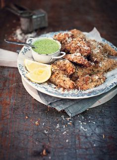 Parmesan and Lemon Baked Chicken Goujons   with Salsa Verde Dipping Sauce bywhatkatieate: Delectable! #Chicken #whatkatieeatas