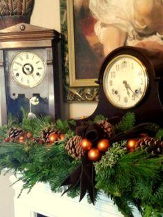 holiday, pretti mantl, clock, mantl piec, christma mantel, garland, christmas mantels