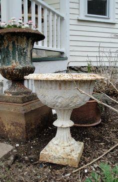 Antique cast iron urn