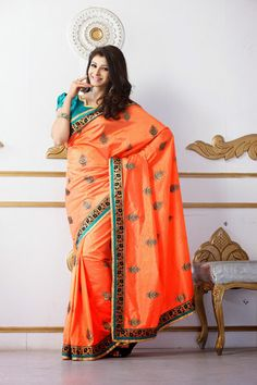 USD 76.49 Orange Silk Party Wear Saree   33683