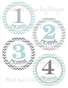 Monthly onesie stickers- aqua blue and gray Chevron- ClamsandaHamdog $8.50
