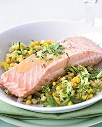 Poached Salmon with Corn and White Wine-Butter Sauce Recipe from Food & Wine