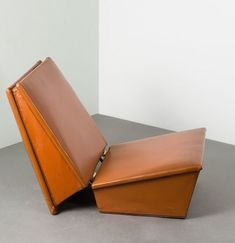 Hans Olsen; Wood, Leather and Brass Folding Chair/Occasional Table for Sörensen, 1960.