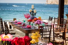 Totally in love with this vibrant reception setting! {Dino Gomez}