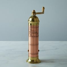 Copper and Brass Pepper Mill. Made in Greece.