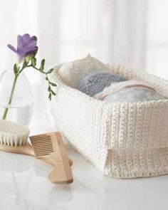 This large Crocheted Spa Basket from Lily Sugar n' Cream is great for bathroom storage. Made with Lily's scented yarn, this crochet basket is great to give as a gift for Mother's Day