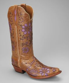Take a look at this Tan & Purple Leather T-Toe Floral Western Boot - Women by Johnny Ringo Boots on #zulily today!