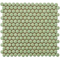 Merola Tile Penny Round 12-1/4 in. x 12 in. Light Green Porcelain Mesh-Mounted Mosaic Tile-FKOMPR13 at The Home Depot