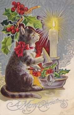 Love this Christmas cat with holly, candle and candle snuffer!