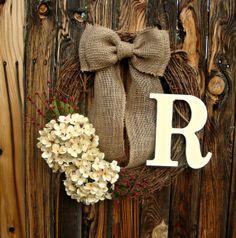 Cream Hydrangea Wreath with Monogram - Monogrammed Wreath - Door Wreath - Year Round Wreath - Front Door Wreath -