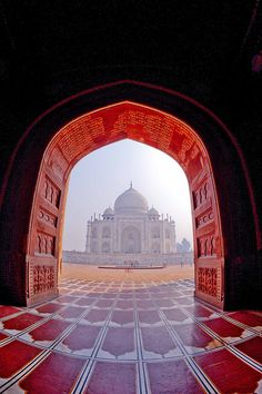 Taj Mahal thru arch gate - Agra, India