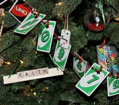 Re-use game pieces to decorate your tree or mantel. Easy and cute! More easy ornaments: http://www.midwestliving.com/holidays/christmas/easy-homemade-christmas-ornaments/page/18/0