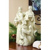 Three Wise men Ivory Glittered Religious Holiday Statue