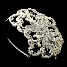1920's Inspired Pearl and Rhinestone Wedding Headband - Affordable Elegance Bridal -