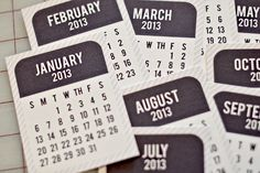 Project Life 2013 Printable Calendar Cards from Bijou Lovely