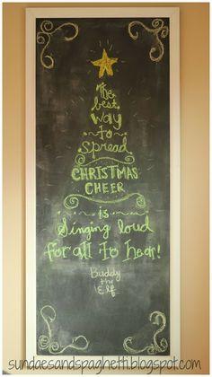 Christmas Chalkboard- Buddy the Elf quote tree