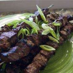 THIS SIMPLE SOY-GINGER MARINADE CAN BE MADE IN MINUTES, AND THE SKEWERED BEEF TAKES ONLY MINUTES TO GRILL. MARINATE THE BEEF WHILE YOU ARE AT WORK AND POP THE SKEWERS ON THE GRILL WHEN YOU GET HOME.