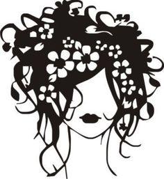 Beautiful Flower Hair Girl 2  vinyl wall art Salon / Home / Office