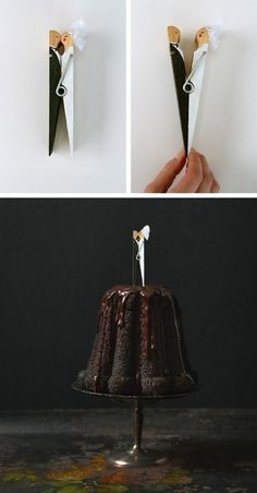 DIY wedding cake topper, so cute and cheap. Could do prince/princess for birthday cake candle holder...