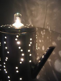 old percolater repurposed as lamp diy fashion, light fixtures, night lights, diy vintage lamps, percolat repurpos, craft idea, hand made, java lamp, tea lights