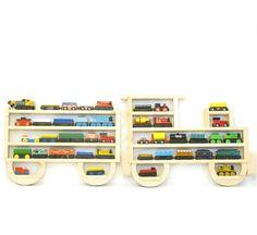 Wooden Wall Storage Train Rack Organizer for Thomas Tank Engine and Brio Tracks. via Etsy.