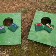 See how you can make your own Teenage Mutant Ninja Turtle bean bags for a cornhole game at a birthday party.