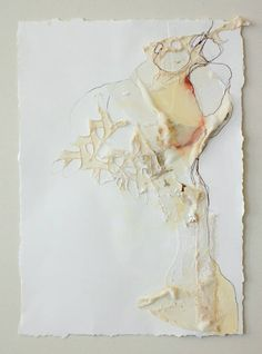 """To the Side; machine embroidery, lace, and mixed media on paper ; 16"""" x 20"""" (floated in frame to see torn paper edges) $100 #art #artist #deeannrieves www.deeannrieves.com"""