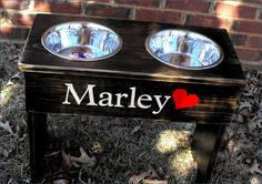 Personalized Large Shabby Raised Dog Bowl Stand by turquoiseangels, $67.00