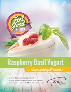 #FeelGoodFridays! These simple yet sophisticated flavours take an old #breakfast standby to new heights! Get the recipe for my #Raspberry #Basil #Yogurt by clicking through. #eatclean #cleaneating #dessert #eatingclean #treat #sweet #toscareno