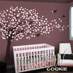 little girls, nursery walls, wall decals, blossom trees, nurseri, baby girls, little girl rooms, babies rooms, cherry blossoms