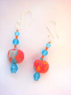 Aqua and Orange Drop Style Earrings/ Miami by LittleGemsandMore, $10.00