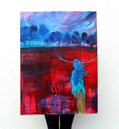 Acrylic Landscape Painting Abstract A Walk by kerriblackmanfineart, $360.00