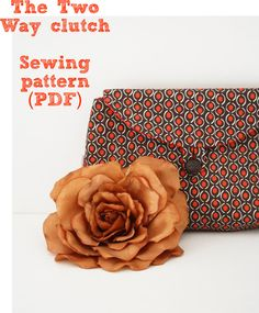 Two Way Clutch sewing pattern (PDF) instant download clutch sew