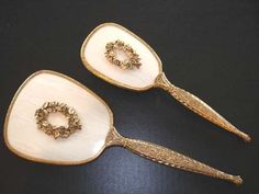 Vintage Vanity Brush and Mirror Set