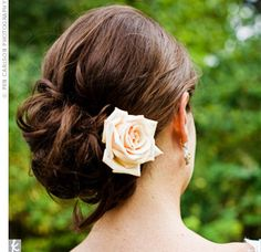 low updo with flower