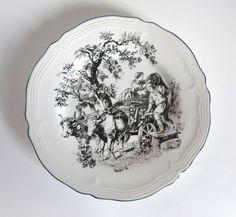 Vintage New England Toile Grape Pickers Ceramic Plate by JoeBlake, $13.95