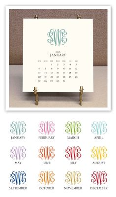 2013 Monogrammed Desk Calendar and Easel