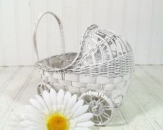 Vintage White Wicker Stroller  Doll Display Size  by DivineOrders, $6.00