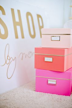 ~ Pink, coral, & peach boxes brighten up file storage ~