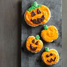 Nothing is cuter than a smiling Halloween Pumpkin Cookies: http://www.bhg.com/halloween/recipes/halloween-treats-kids-can-make/?socsrc=bhgpin092214halloweenpumpkincookies&page=5