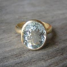 14k Gold Aquamarine Ring Oval Stone Ring  Blue by onegarnetgirl