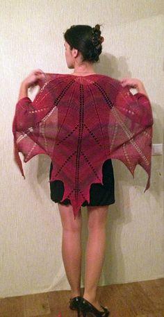 Maple leaf knitted shawl
