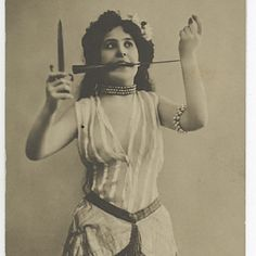 Photo Postcard of Unknown Risque Girl Knife-Juggler from The Netherlands,1906