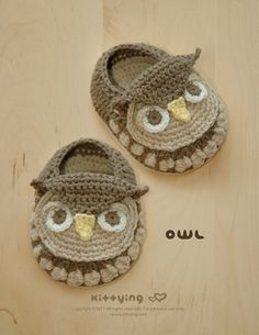 Owl Baby Booties Crochet PATTERN by Kittying.com / Mulu.us