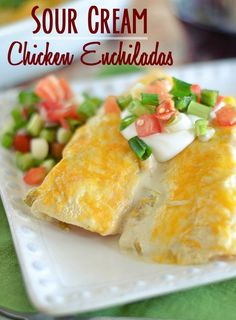 Sour Cream Chicken Enchiladas Recipe ~ are a breeze to make and don't require canned cream of anything... easy, cheesy comfort food!