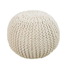 Wool Knit Pouf in Iv